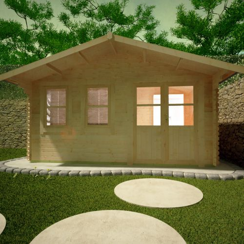 1clicklogcabins-forde-front-view