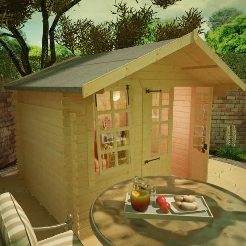 19mm log cabin with half glazed double doors, front window and overlapping apex roof, situated on a patio.