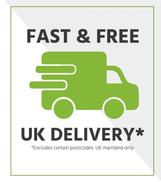 Fast and free UK delivery - excludes certain postcodes, UK mainland only.