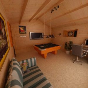 Log Cabin with Pool Table, Darts Board, TV & Couch