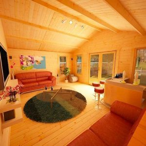 Picture Inside Log Cabin with living area including couch, bar, TV, Table & Chairs