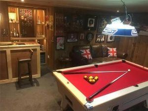Log Cabin Mancave With Pool Table