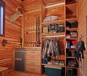 Log Cabin Mancave with Fishing Gear