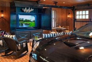 Log Cabin Mancave with TV & Car