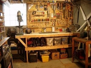 Mancave with work bench & tools