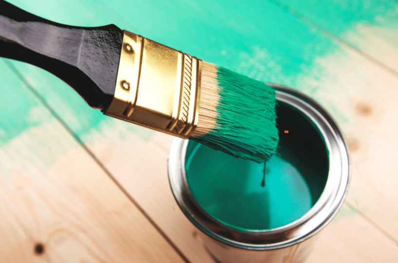 Green Painted Wood, Paint Tub & Paint Brush
